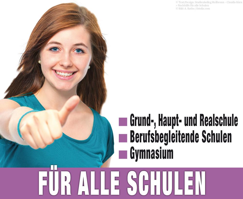 Nachhilfeunterricht im Studienkolleg Heilbronn ist für alle Schulen möglich.